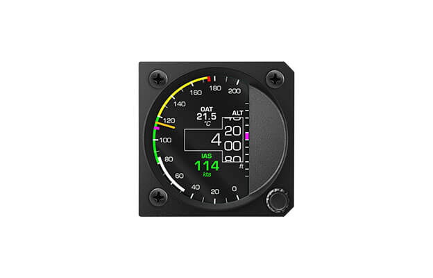 57 mm iris series digital All in one instrument for ultralight aircraft with Altimeter, Airspeed indicator and Vertical speed indicator and OAT