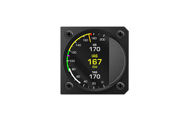 57 mm iris series digital Airspeed indicator instrument  for ultralight aircraft with Indicated airspeed, True airspeed and Ground speed
