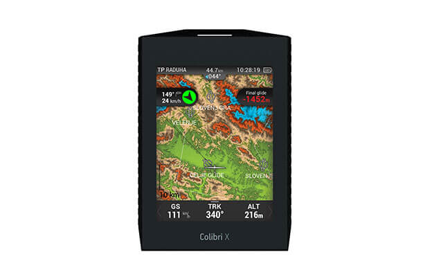 Touchscreen flight recorder Colbri X wirth colourful terrain map on navigation page
