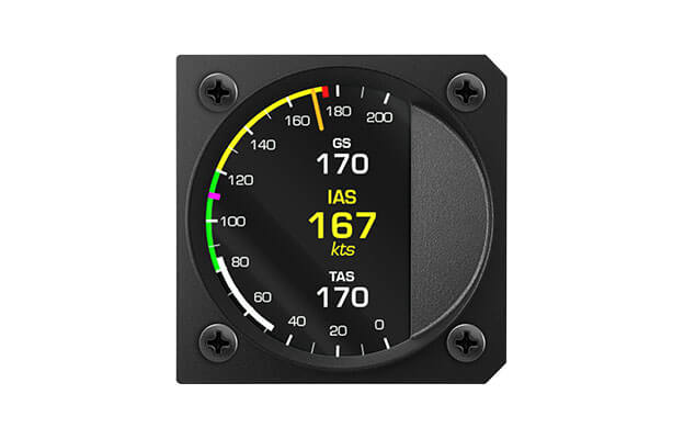 80 mm iris series digital Airspeed indicator instrument  for ultralight aircraft with Indicated airspeed, True airspeed and Ground speed