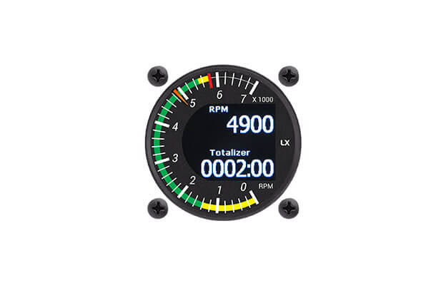 57 mm digital RPM indicator instrument for ultralight aircraft and Rotax engines with actual RPM and Time totalizer