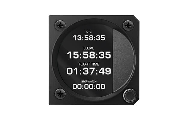80 mm iris series digital Chronograph and clock instrument  for ultralight aircraft with UTC, Local time and Stopwatch