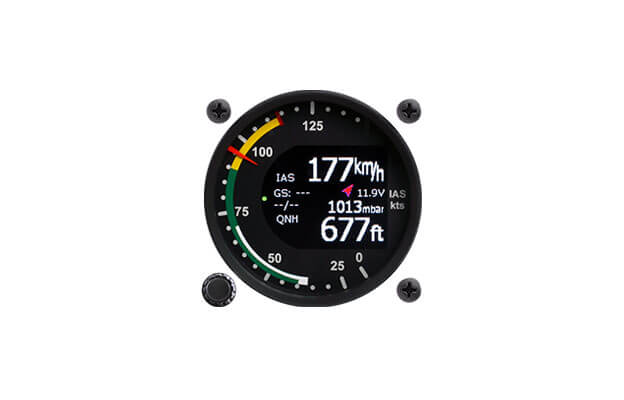 57 mm airspeed indicator with altimeter and navigation for ultralight aircraft.