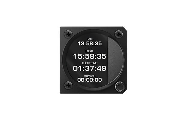 57 mm iris series digital Chronograph and clock instrument  for ultralight aircraft with UTC, Local time and Stopwatch